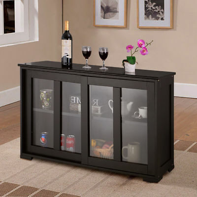 Storage Cupboard Sideboard Buffet Cupboard Glass Sliding Door Pantry Kitchen