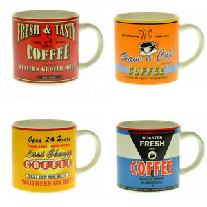 4 tlg.Set Kaffeetasse - Kaffeebecher -Vintage Coffee - Retro - Diner - 9 X 9 cm