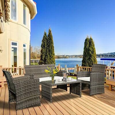 - 4 PC Rattan Patio Furniture Set Garden Lawn Sofa Cushioned Seat Mix Gray Wicker