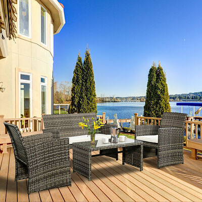 Garden Furniture - 4 PC Rattan Patio Furniture Set Garden Lawn Sofa Cushioned Seat Mix Gray Wicker