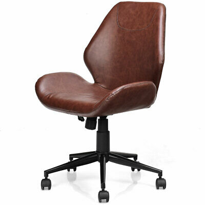Office Home Leisure Chair Pu Leather Mid-back Upholstered Swivel Adjustable