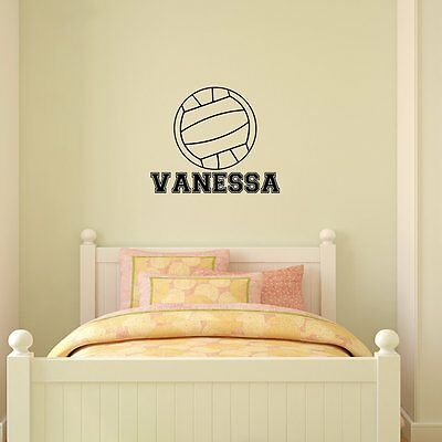 Volleyball Wall Decal & Personalized Name Vinyl Sticker Decor Sports Kids Room](Sports Room Decor)