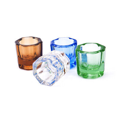 2pc Dental Mixing Bowls Glass Dappen Dish Household Octagonal Cups Reconcile Cup