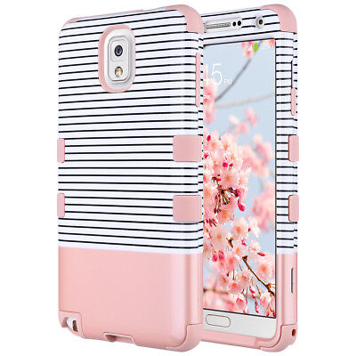 Minimal Rose Gold Shockproof Hybrid Rubber Hard Case Cover Samsung Galaxy Note 3