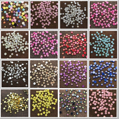 NEW DIY 2/4/6/8/10/12mm Half Round Pearl Bead Flat Back Scrapbook for Craft (Half Round Bead)