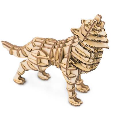 Robotime Animal 3D Wooden Puzzle Wolf DIY Model Kits Laser Cut Toy for Kids Boy