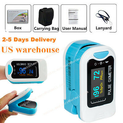 Us Finger Tip Pulse Oximeter Spo2 Pr Blood Oxygen Heart Rate Monitor Pouch Oled