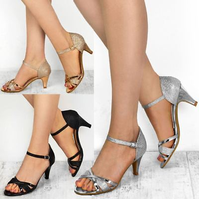Womens Ladies Low Heel Wedding Bridal Silver Sandals Party Strappy Shoes Open ()
