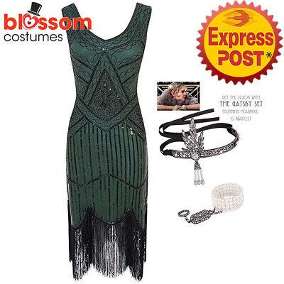 K298 Green Gatsby Ladies 1920s Roaring 20s Flapper - Kinder Flapper Kleider