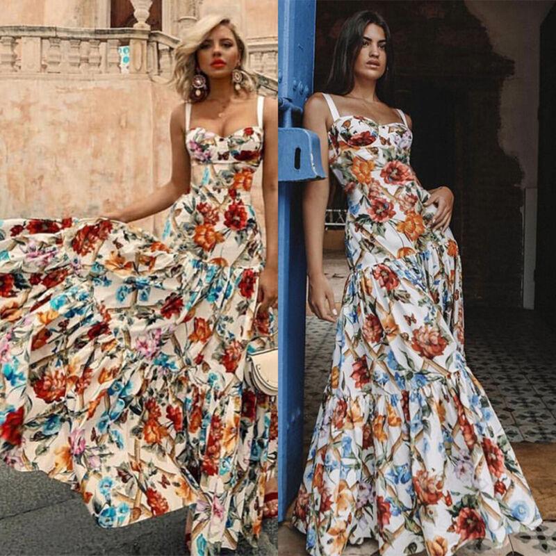 Damen Blumen Strappy Kleid Abend Partykleid Sommerkleid Retro Maxi Lange Kleider