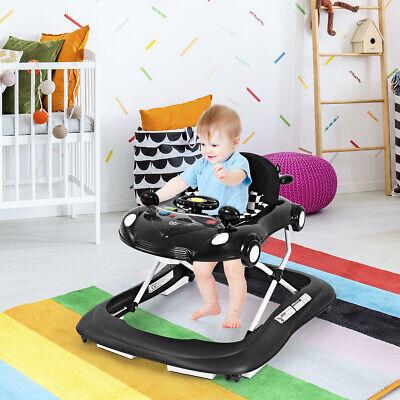 2-in-1 Foldable Baby Walker Adjustable Heights Ourdoor W/Music  & Lights Black