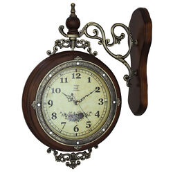 Metal wood European-style double-sided wall clock Retro mute quartz
