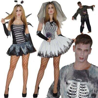 ween Skelett Braut Biene Sexy Horror Gr. S M L Damen Herren (Braut Halloween)