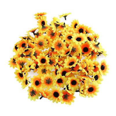100 pcs Gerbera Daisy Head Artificial Silk Flower Wedding Craft Sunflower
