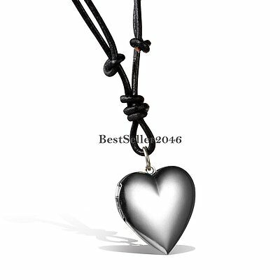 Moms Gift Silver Tone Love Heart Locket Photo Women Necklace Memory Pendant