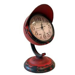 ANALOG DESK CLOCK- Wrought Iron RED Industrial Vintage Steampunk Antique Retro