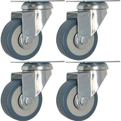 4 Pack 3-inch Heavy Duty Swivel Wheel Rubber Plate Caster