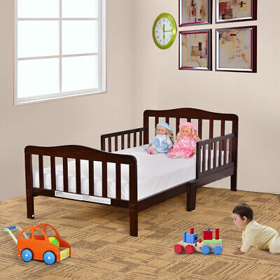 Brown Kids Bedroom Furniture - Baby Toddler Bed Kids Children Wood Bedroom Furniture w/Safety Rails Espresso
