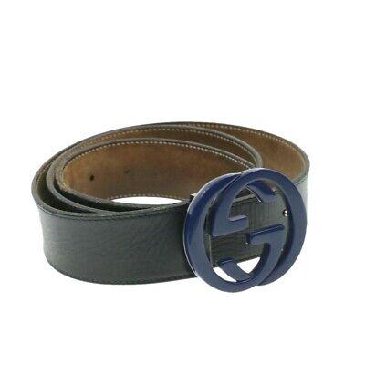 Gucci inter verrouillage ceinture cuir noir authentique rd997