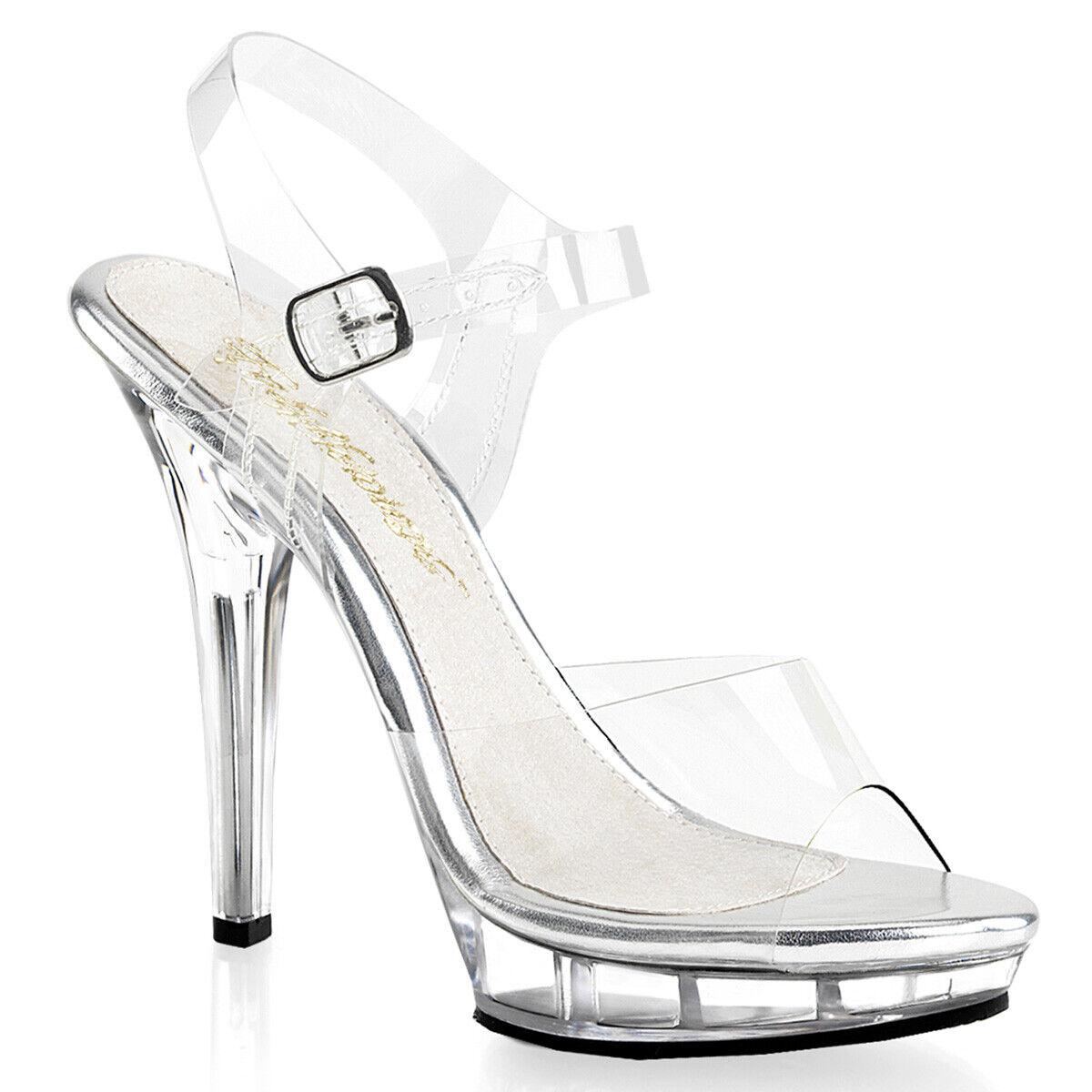 "PLEASER LIP108/C/M Sexy 5"" Heels Stilettos Stripper Mini Platform Clear Shoes"