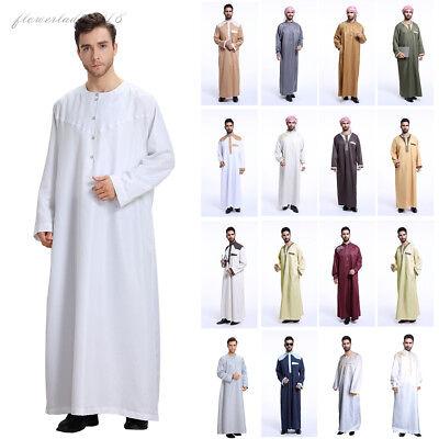 Muslim Men Saudi Thobe Robe Clothing Jubba Arabic Kaftan Abaya Jelbab Dress New