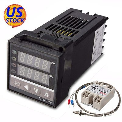 Ac 110-240v Pid Temperature Controller Kits 0-999c 40a Ssr 1m K Type Probe