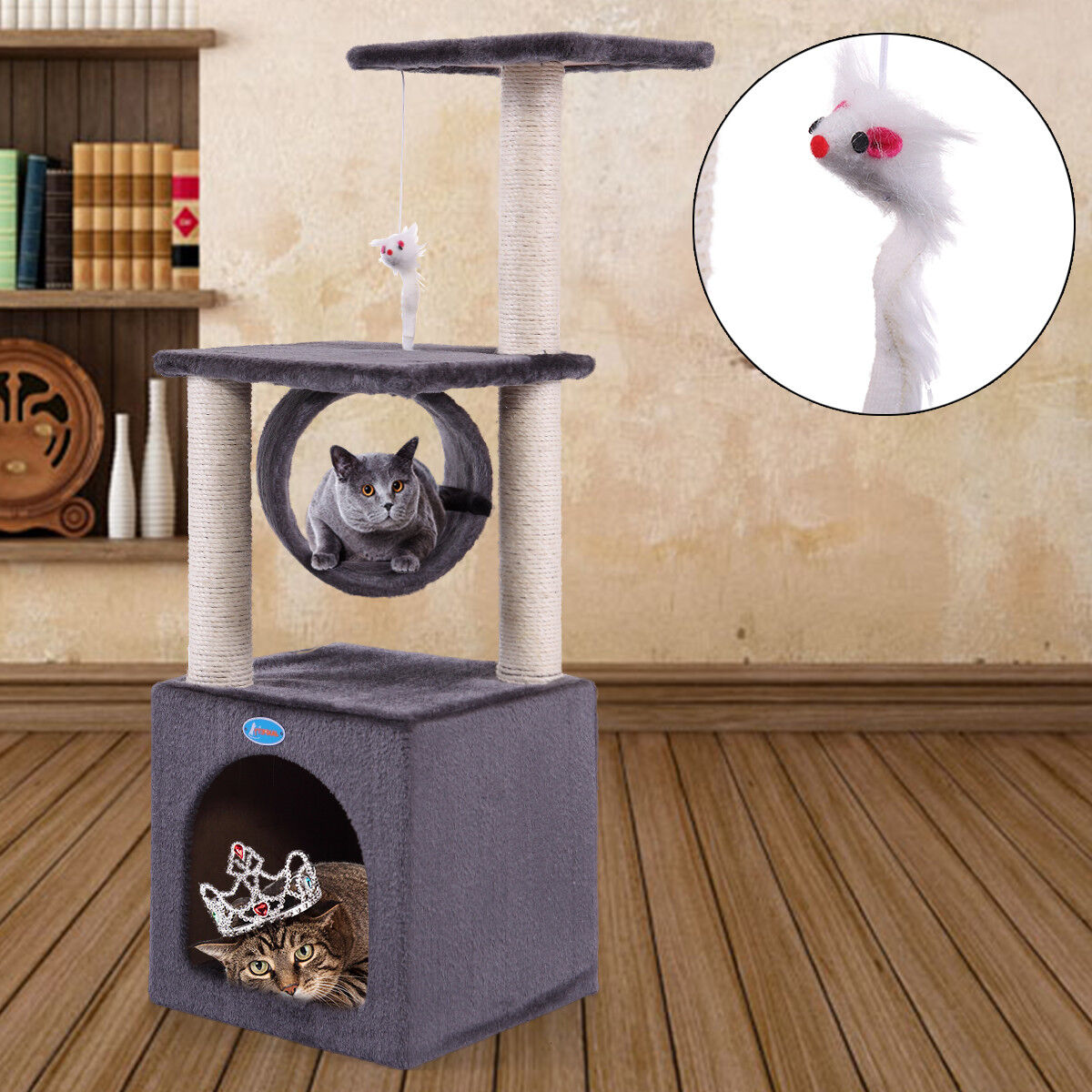 """Deluxe 36"""" Cat Tree Condo Play Toy Furniture Kitten Pet House Scratching Post"""
