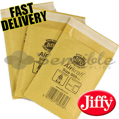 100 x JL000 JIFFY BRANDED PADDED BUBBLE ENVELOPES BAGS GOLD A/000 90x145mm