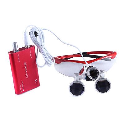 Portable Dental Medical Magnifier Binocular Loupes 3.5x Red Led Head Light Lamp