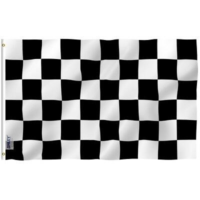 ANLEY Checkered Flag Black and White Race Banner Polyester 3x5 Foot Flags