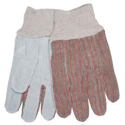 12 Pairs Mcr Safety Economy Leather Palm Work Gloves With Knit Wrist Large