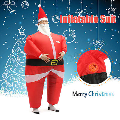 Adult Christmas Santa Claus Inflatable Costume Blow Up Suit Party Dress Outfit - Adult Santa Outfit