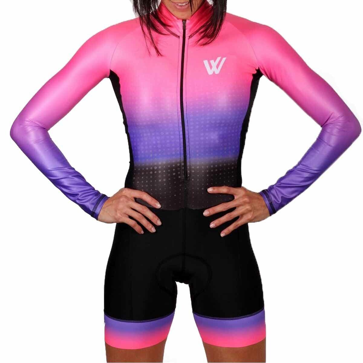 Women Cycling Jersey Suit Set Skinsuit Triathlon Tri Swim Run Race Pink Gel Pad