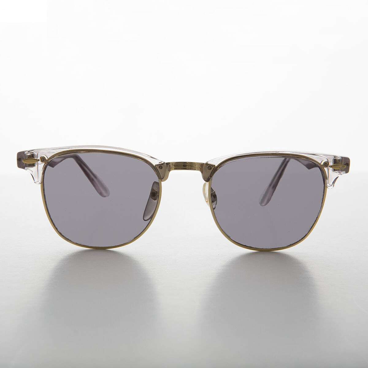 925f6005985 Gray Tinted Half Frame Classic Horn Rim Vintage Sunglass - Brooks ...