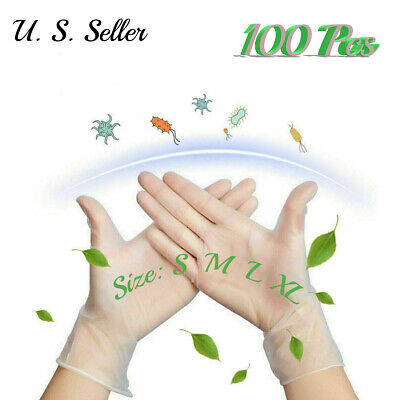 100 Pcs Clear Disposable Pvc Gloves - Powder Free Personal Protective Gloves