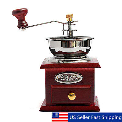 Manual Wooden Burr Coffee Grinder Vintage Hand Coffee Mill w/ Ceramic Hand