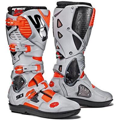SIDI Crossfire 3 SRS Motocross MX Boots Red Flo/Ash Grey Gray US 10 / EU 44