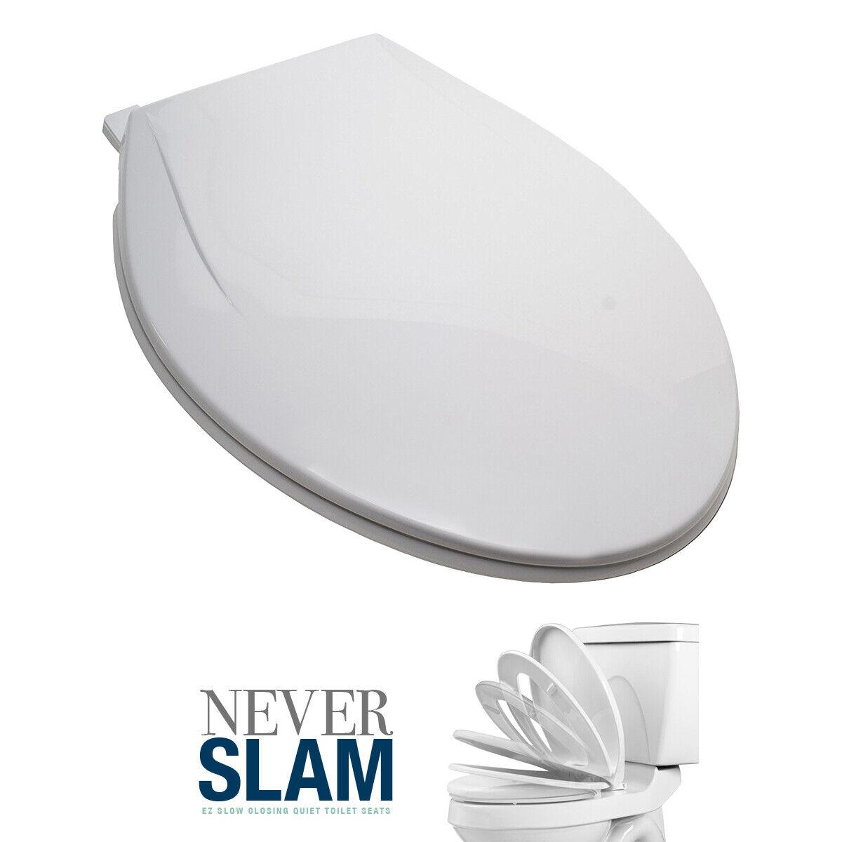 Premium Elongated Toilet Seat, White, Slow-Close, Fits All Elongated Toilets Bath