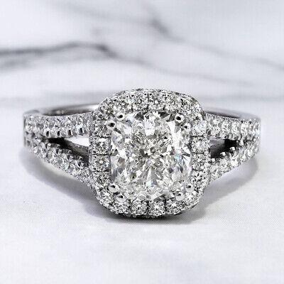 2.30 Ct. Cushion Cut Pave Diamond Halo Split Shank Engagement Ring H VS2 14K GIA 7