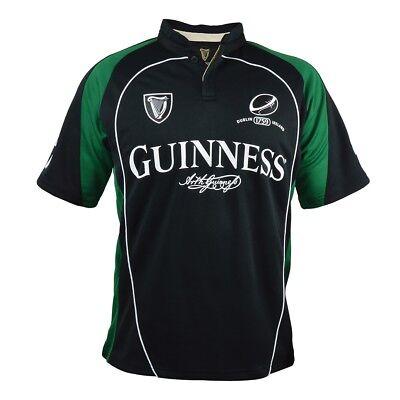 Guinness Black & Green Performance Rugby Jersey Mens Irish Dublin Ireland NEW