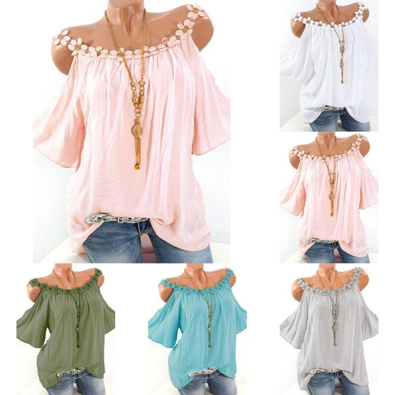 Damen Kurzarmshirt Oberteile Bluse T-shirt Kalte Schulter Tops Hemd Babydoll DE