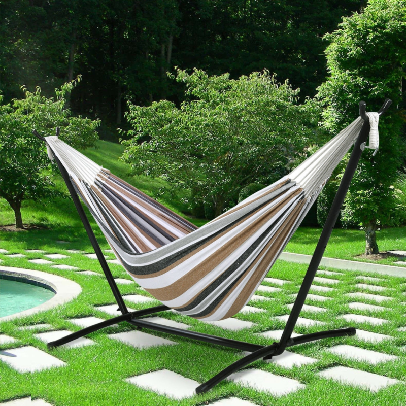 New Double Hammock with Steel Stand and Carry Bag US Free Sh