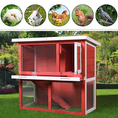 "36"" Wooden Chicken Coop Hen House Rabbit Wood Hutch Poultry Habitat Cage Red"