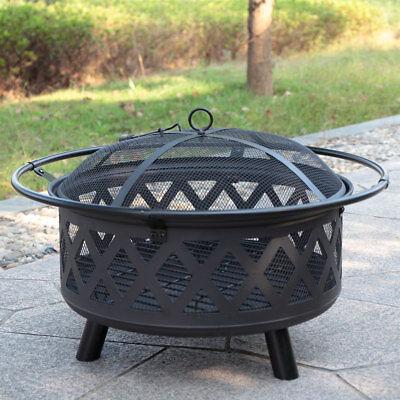 Backyard Fireplace Wood Burning Heater Steel Bowl Star Patio Fire Pit Outdoor