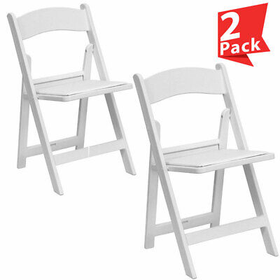 2 White Resin Folding Chair Vinyl Padded Seat 300 Lb Capacity Event Party Chairs