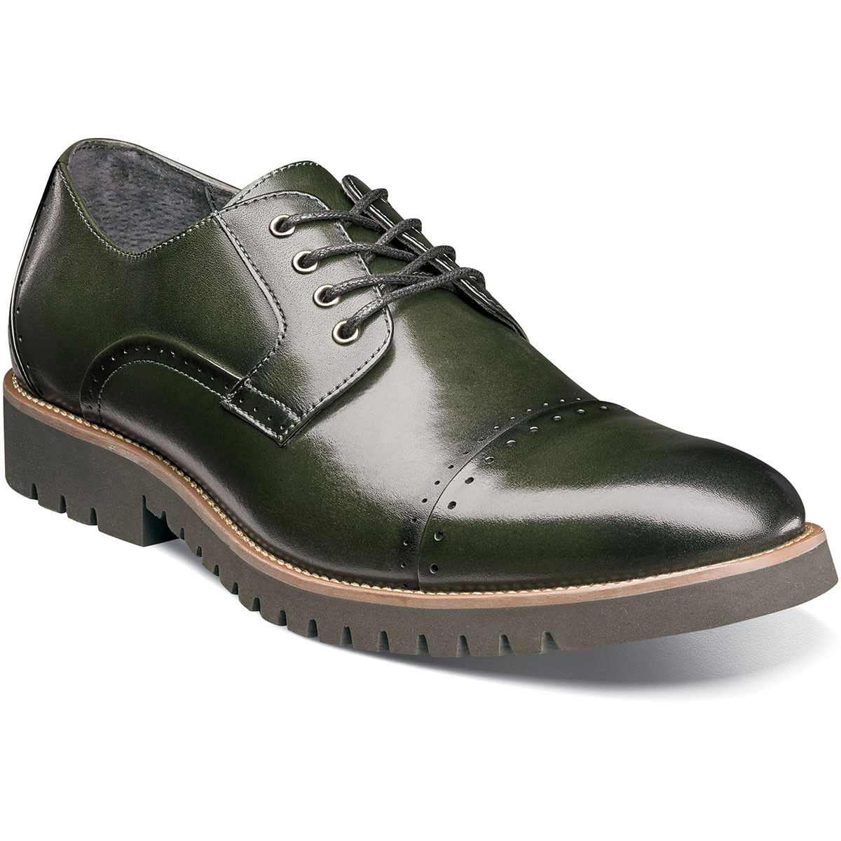 Stacy Adams Men's Shoes Barcliff Cargo Green Leather Cap Toe 25216-304