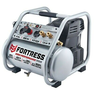 Air Compressor 4 Gallon 1.5 Hp 200 Psi Oil-free Professional Low Noise 80 Dba