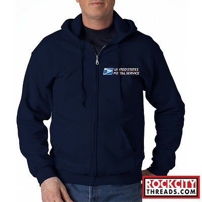 - USPS POSTAL FULL ZIPPED NAVY HOODIE EMBROIDERED Zip Up United States Service