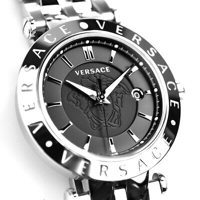 $1895 VERSACE Mens V-Race Polished BLACK Stainless Steel Swiss Watch VQP110016