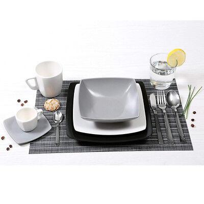 Servizio Piatti 18 Pezzi In ceramica bianco, nero e grigio . Mod. Eclipse